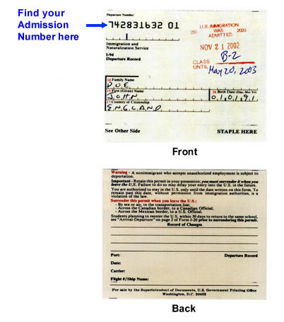 Sample of I-94 Arrival/Departure Record or Form CBP on i-94 number, i-94 process, us landing card sample, i-94 print ou, i-94w sample, i-94 formulario de inmigracion, i-94 status, i-94 paper, i-94 record online, i-94 pdf, i-94 stamp, i-94 uscis forms, i-94 replacement, i-94 print out, i-94 card, i-94 no longer needed, i-94 retrieval, i-94 visa, i-94 i-797, i-94 refugee,